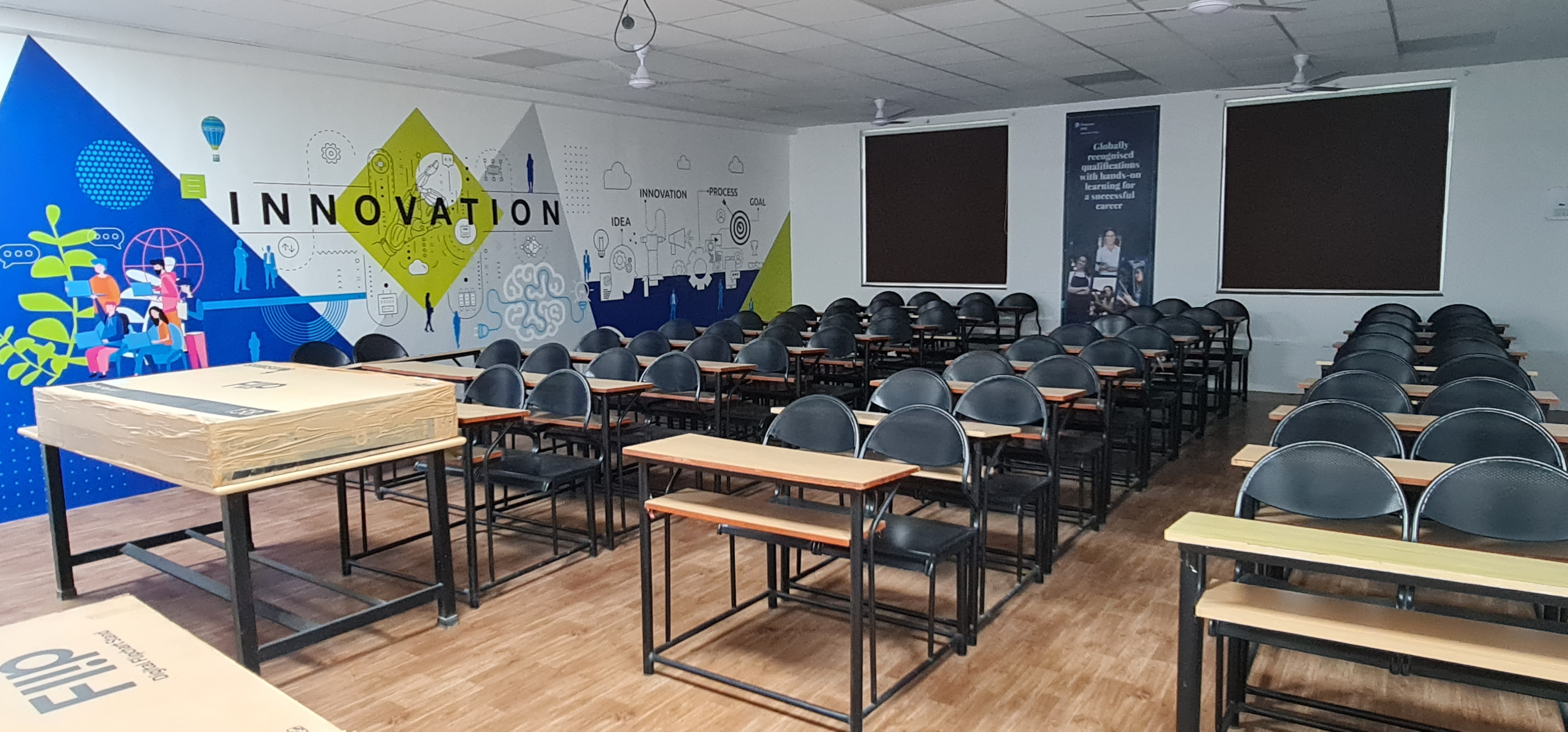 Classroom with well-equipped audio-visual aid
